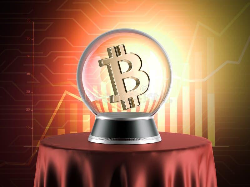 Esfera das previsões com símbolo do bitcoin rendição 3d ilustração royalty free