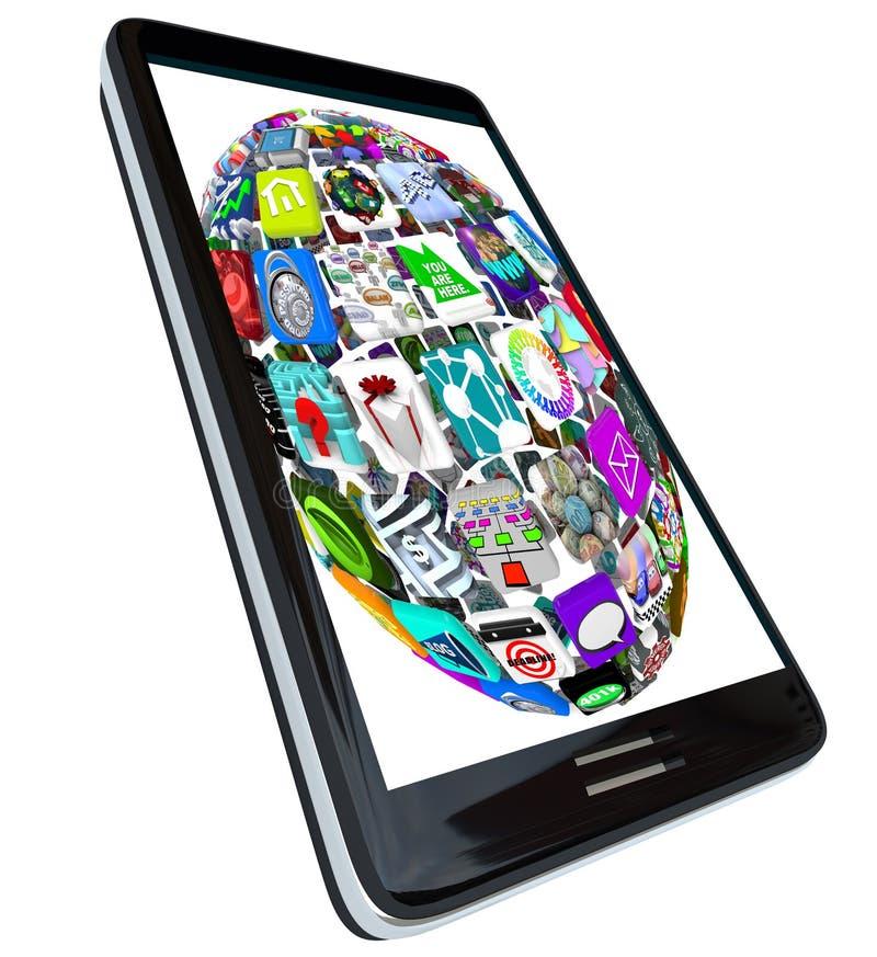 Esfera de ícones do App no telefone esperto ilustração stock
