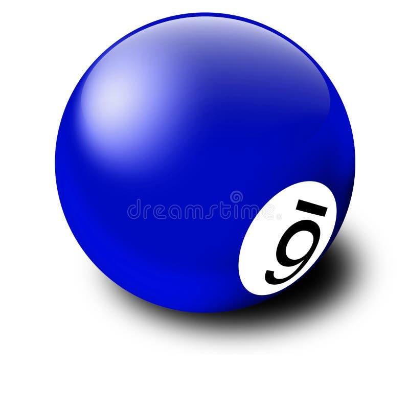 Esfera de bilhar azul ilustração do vetor