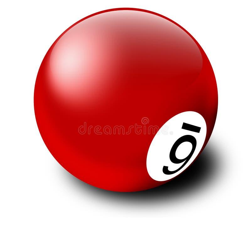 Esfera de bilhar vermelha ilustração stock
