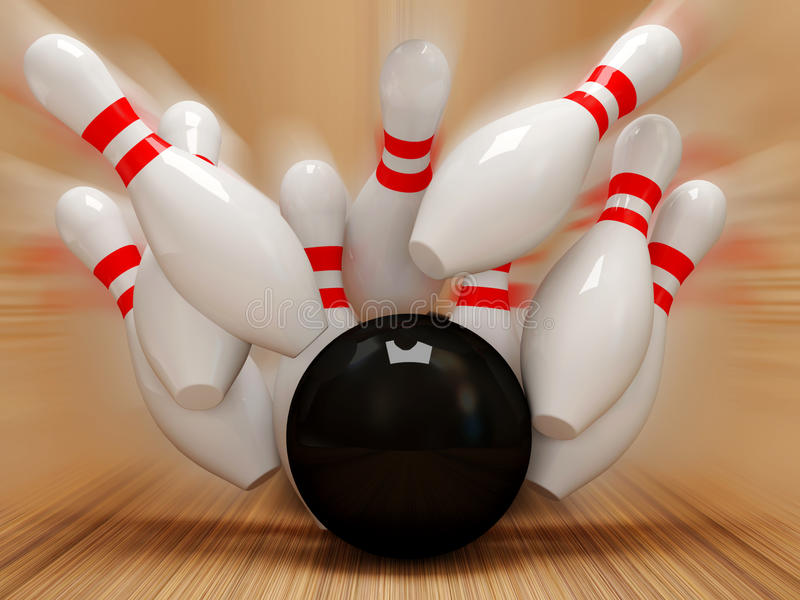 esfera de bowling 3d que causa um crash nos pinos ilustração stock