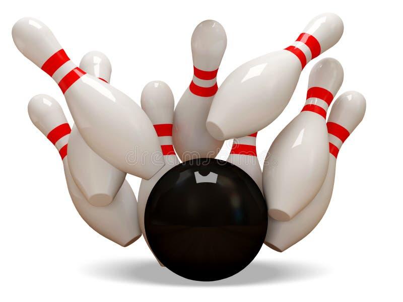 esfera de bowling 3d que causa um crash nos pinos nos vagabundos brancos ilustração stock