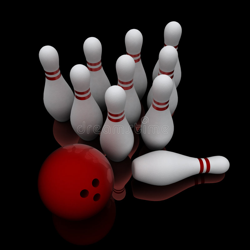 Esfera de bowling e dez pinos fotos de stock royalty free