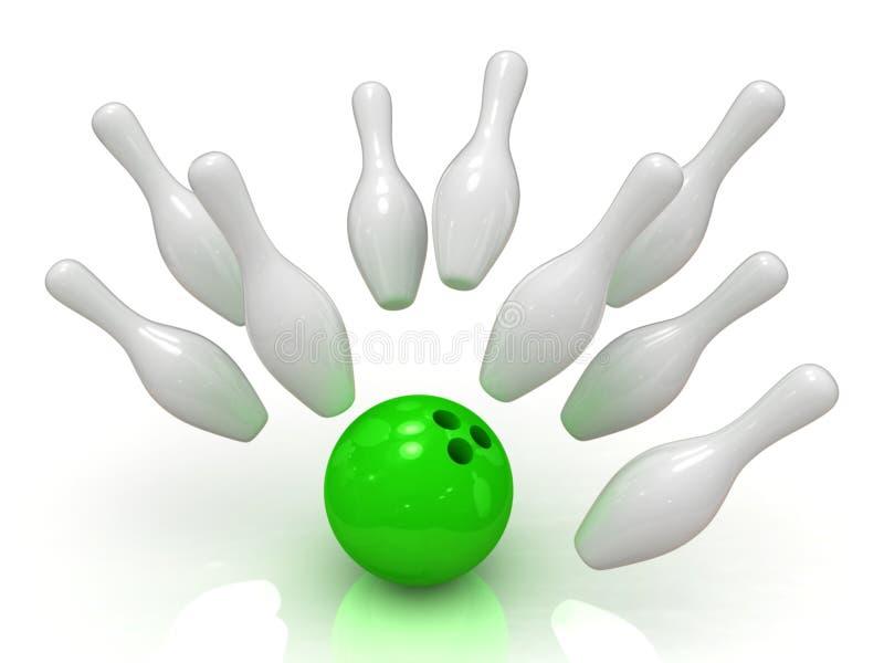 Esfera de bowling que causa um crash em skittles ilustração do vetor