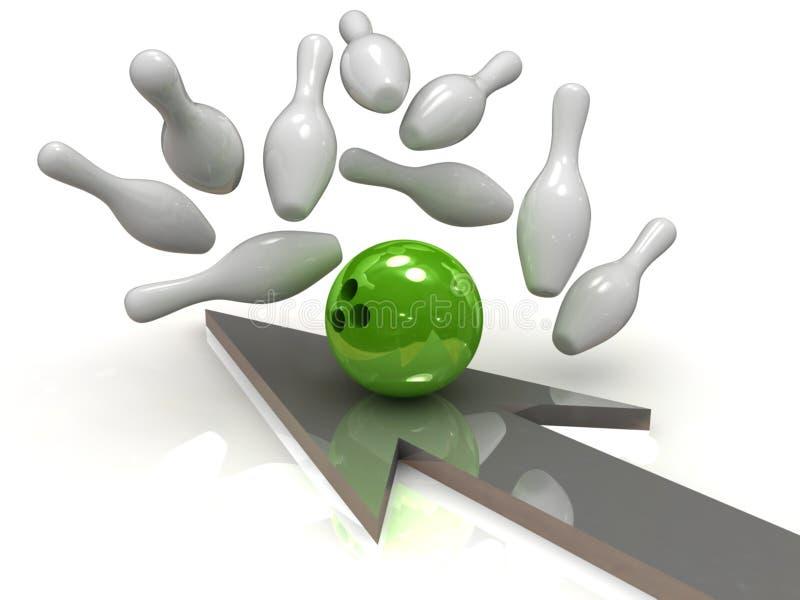 Esfera de bowling que causa um crash em skittles ilustração stock