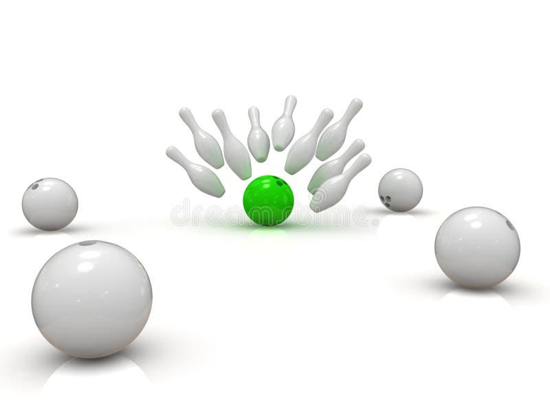 Esfera de bowling que causa um crash em skittles ilustração royalty free