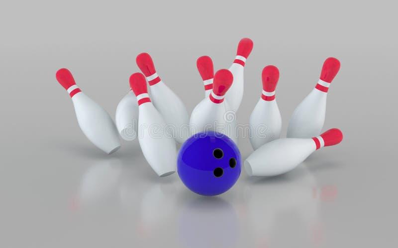 Esfera de bowling que causa um crash nos pinos ilustração da rendição 3d ilustração stock
