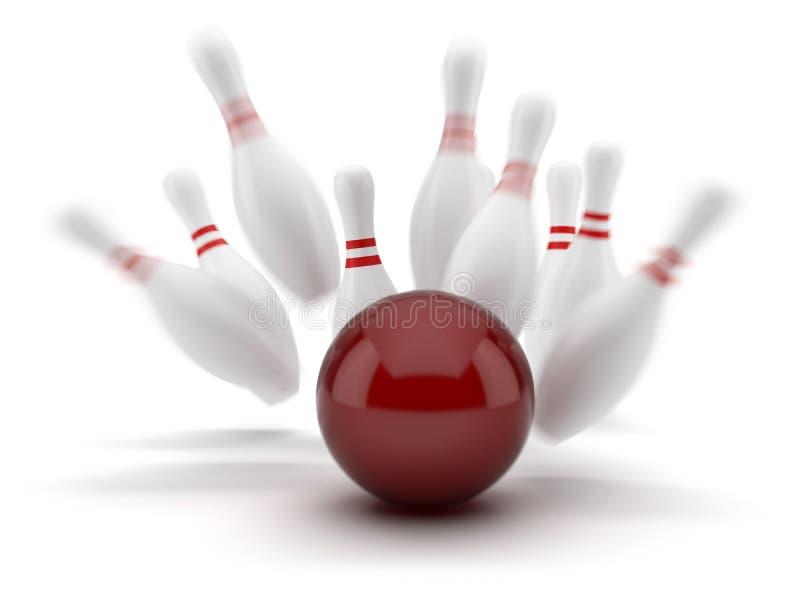 Esfera de bowling vermelha que marc uma batida ilustração royalty free