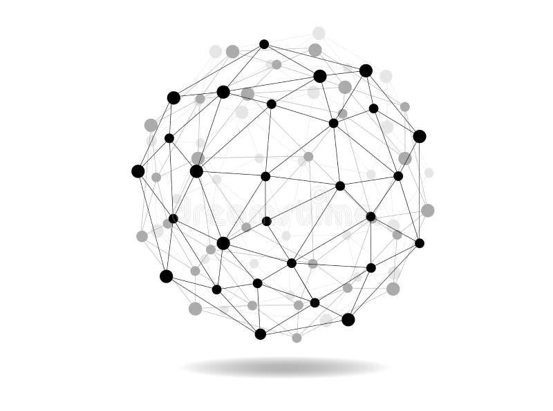 Esfera de conexão da terra do wireframe do vetor ilustração do vetor