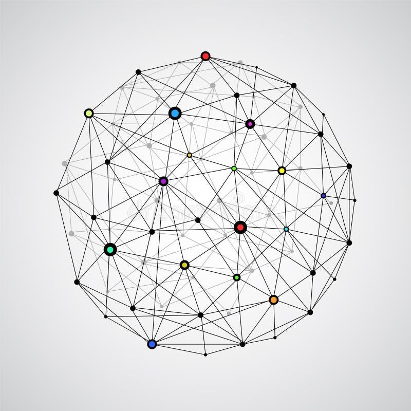 Esfera de conexão da terra do wireframe do vetor Conce da conexão do globo ilustração stock