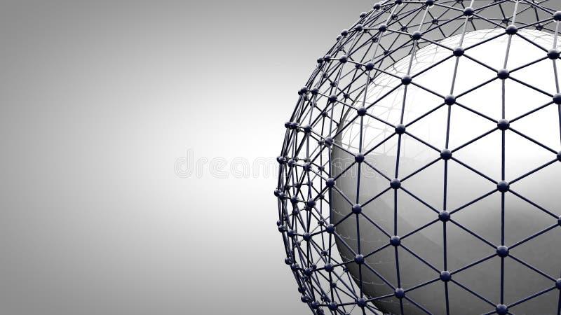 Esfera de conexão de Wireframe ilustração royalty free