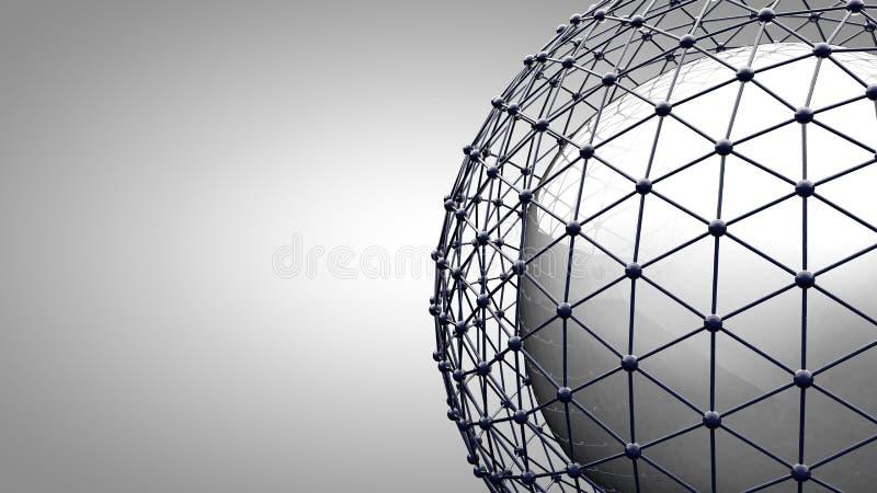 Esfera de conexão de Wireframe ilustração stock