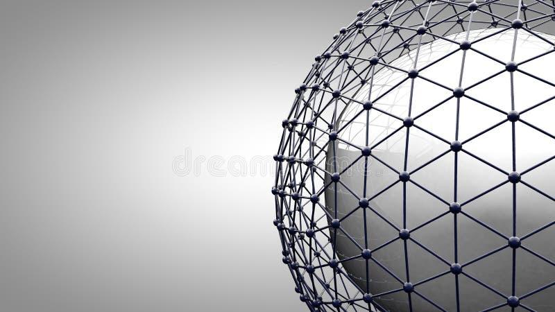 Esfera de conexão de Wireframe Linhas da conexão em torno do globo da terra O conceito da rede social, conexão do globo ilustração stock