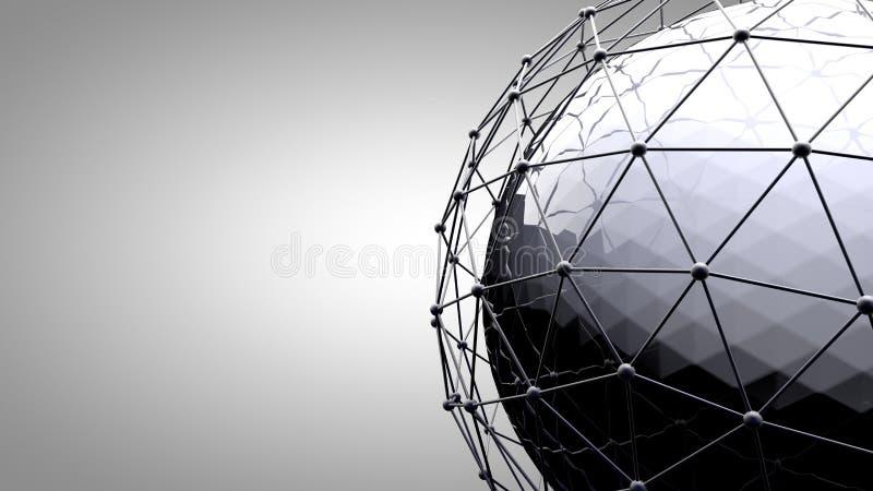 Esfera de conexão de Wireframe Linhas da conexão em torno do globo da terra O conceito da rede social, conexão do globo ilustração royalty free