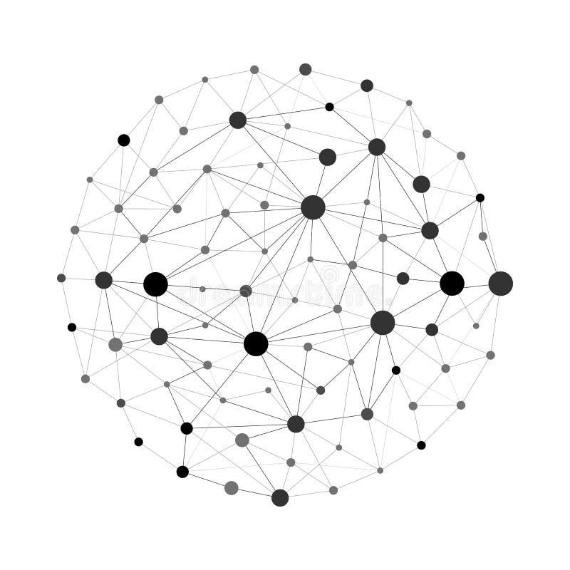 Esfera de conexión de la tierra del wireframe del vector Concepto de la conexión del globo La estructura del globo conecta, ejemp libre illustration