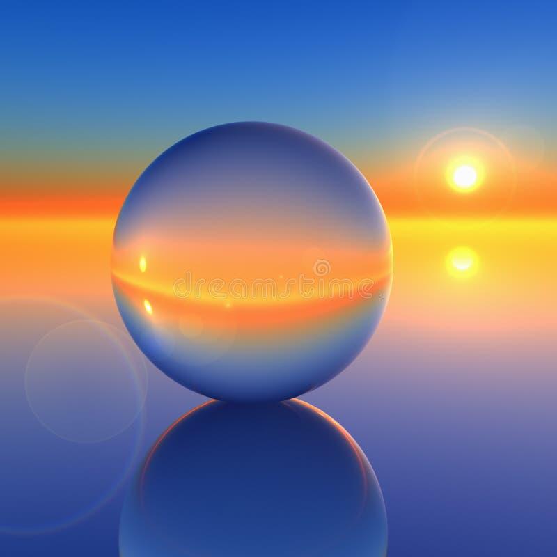 Esfera de cristal abstrata no horizonte futuro ilustração royalty free