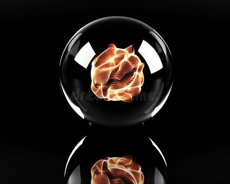 Esfera de cristal con la bola de fuego stock de ilustración
