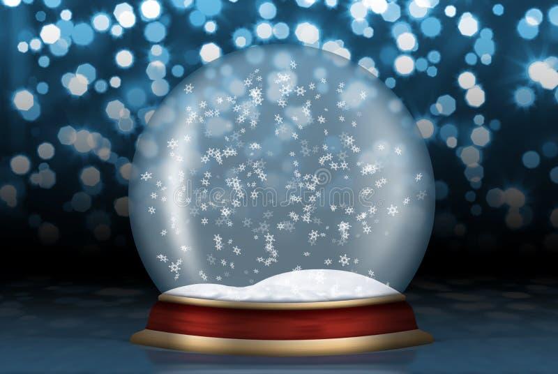 Esfera de cristal con nieve del fondo stock de ilustración