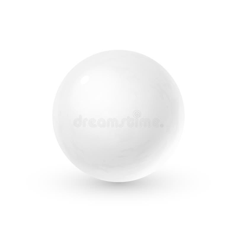 Esfera de cristal realista con las sombras, reflexión del cielo en superficie del espejo de la perla blanca como la nieve ilustración del vector