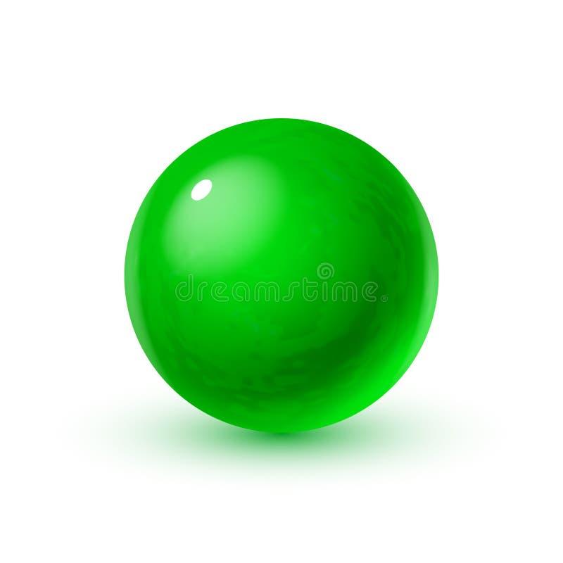 Esfera de cristal realista con las sombras, reflexión del cielo en superficie del espejo de la perla verde oscuro ilustración del vector