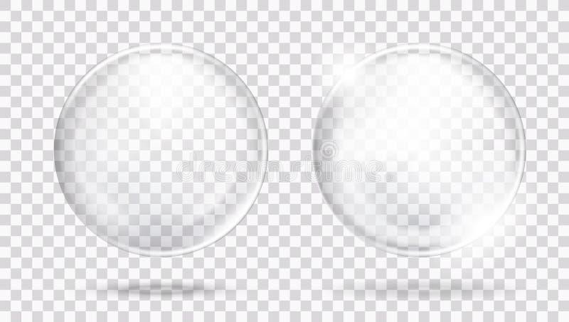 Esfera de cristal transparente blanca brillante grande dos con resplandores y sombra stock de ilustración