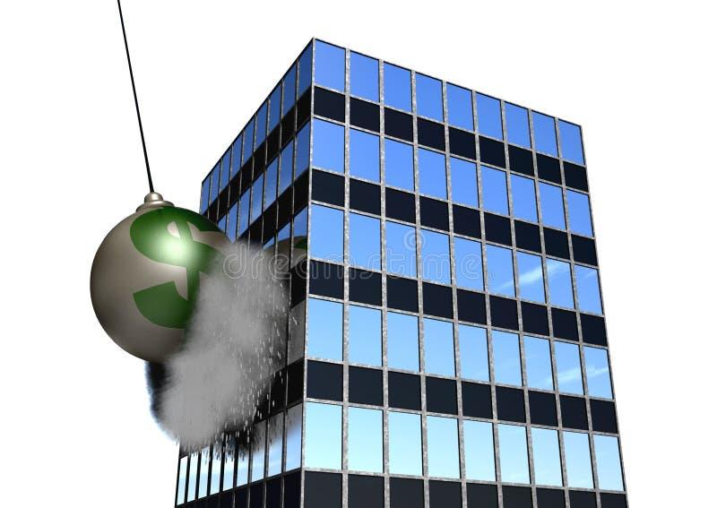 Esfera de destruição financeira no branco fotos de stock royalty free
