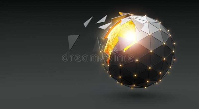 Esfera de dispersão de incandescência no fundo escuro ilustração do vetor
