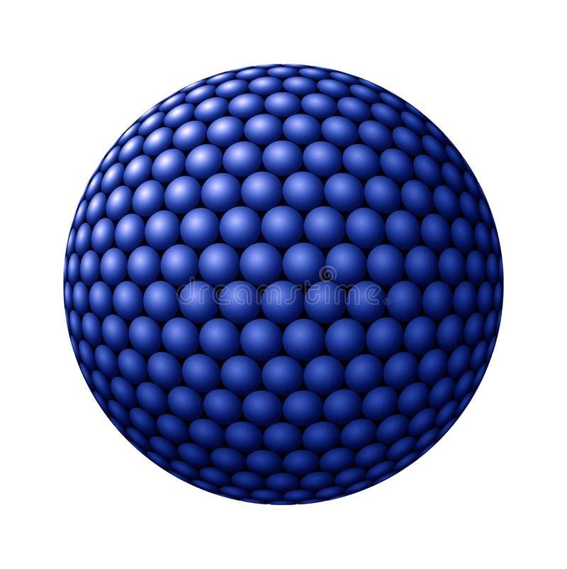 Esfera de esferas azuis de encontro ao branco ilustração do vetor