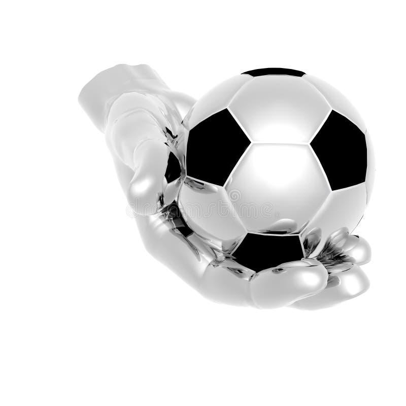 esfera de futebol 3d nas mãos isoladas sobre ilustração do vetor