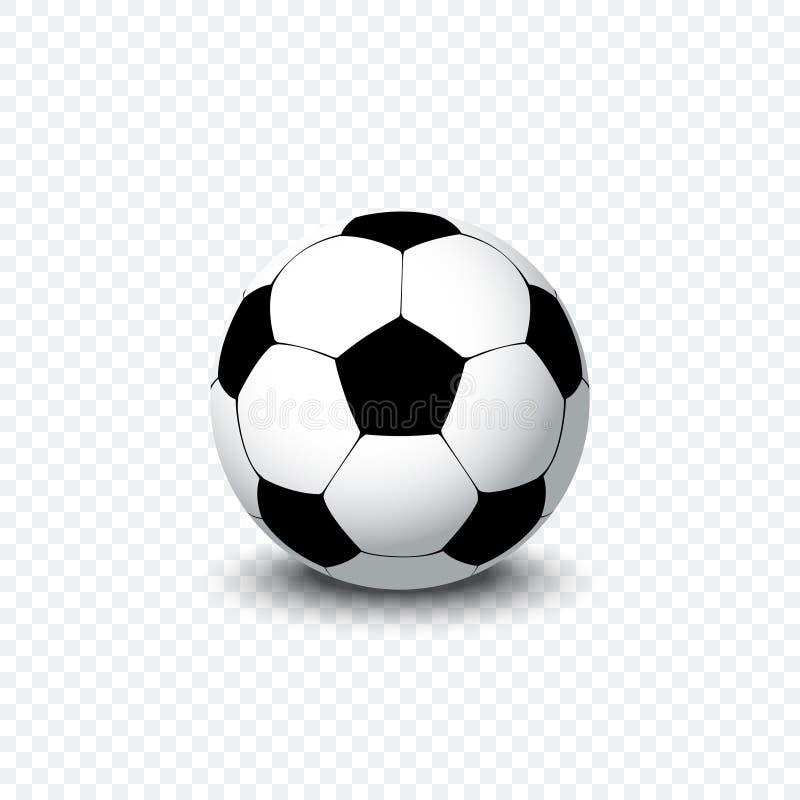 Esfera de futebol Bola realística do futebol ou bola de futebol com sombra no fundo transparente Ícone da bola do futebol ilustração do vetor