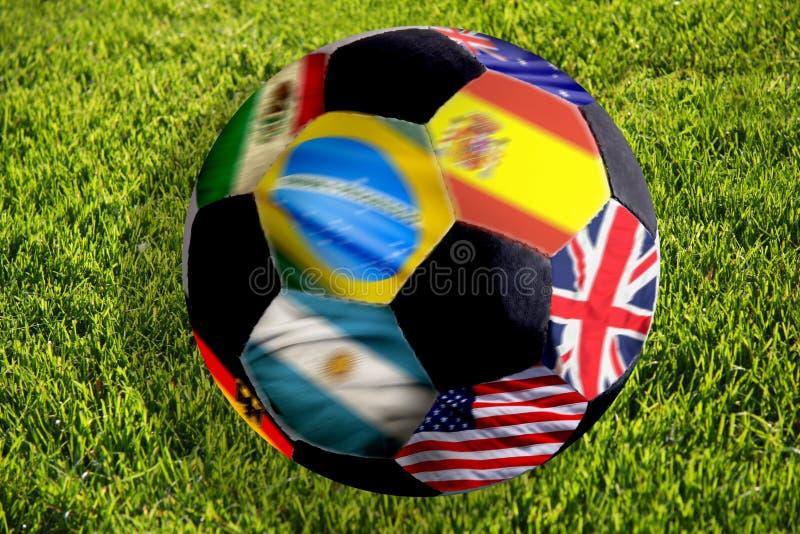 Esfera de futebol com bandeiras fotos de stock