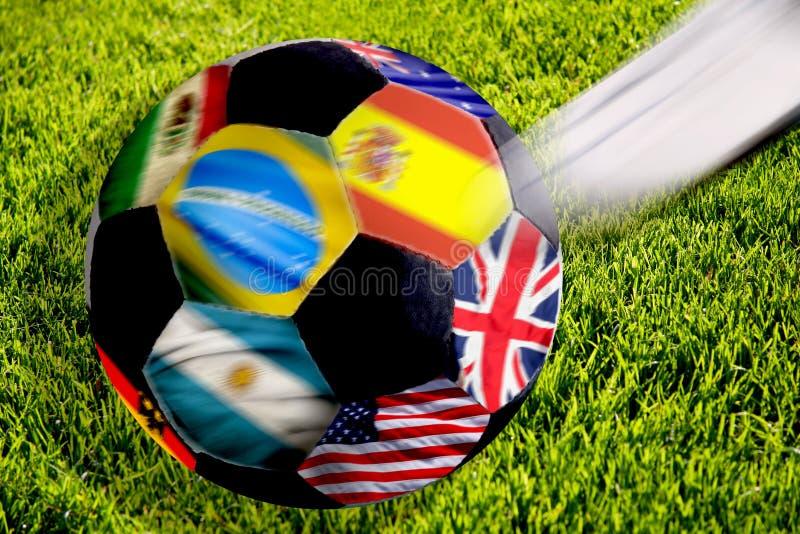 Esfera de futebol com bandeiras imagem de stock royalty free