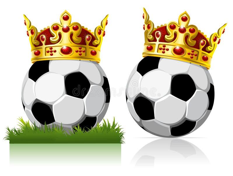 Esfera de futebol com uma coroa dourada ilustração royalty free