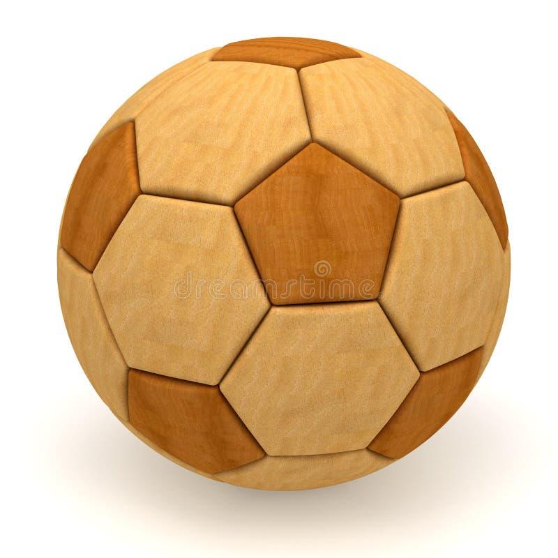 Esfera de futebol de madeira no branco foto de stock royalty free