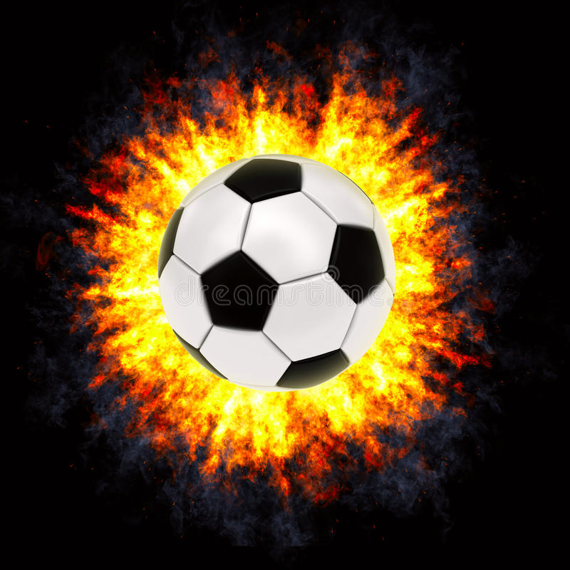 Esfera de futebol na explosão poderosa imagem de stock