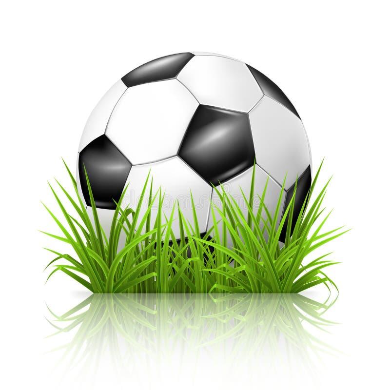 Esfera de futebol na grama ilustração do vetor