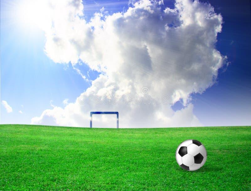 Esfera de futebol na grama fotografia de stock
