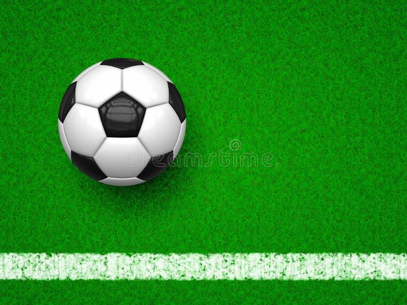 Esfera de futebol na grama verde ilustração royalty free