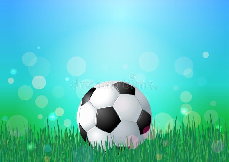 Esfera de futebol na grama verde Contexto da natureza do céu azul e da grama verde Fundo do vetor de Bokeh ilustração royalty free