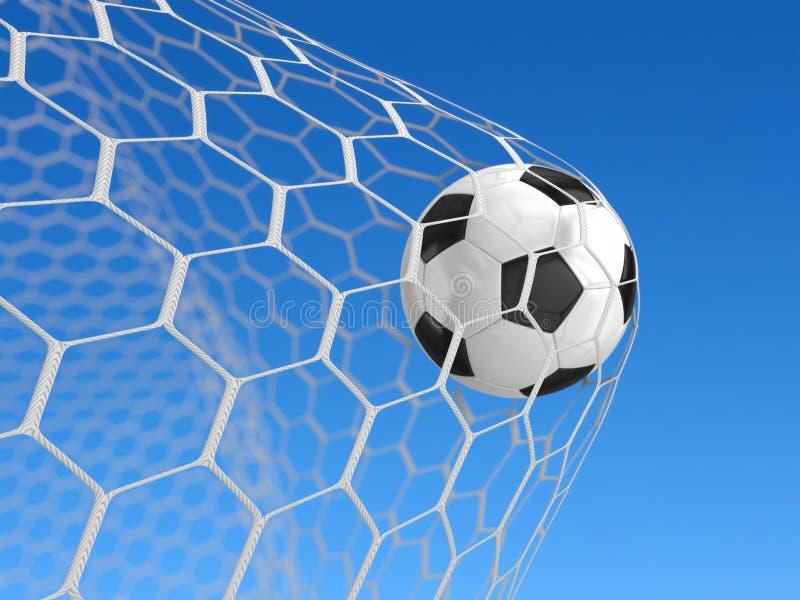 Esfera de futebol na rede ilustração stock