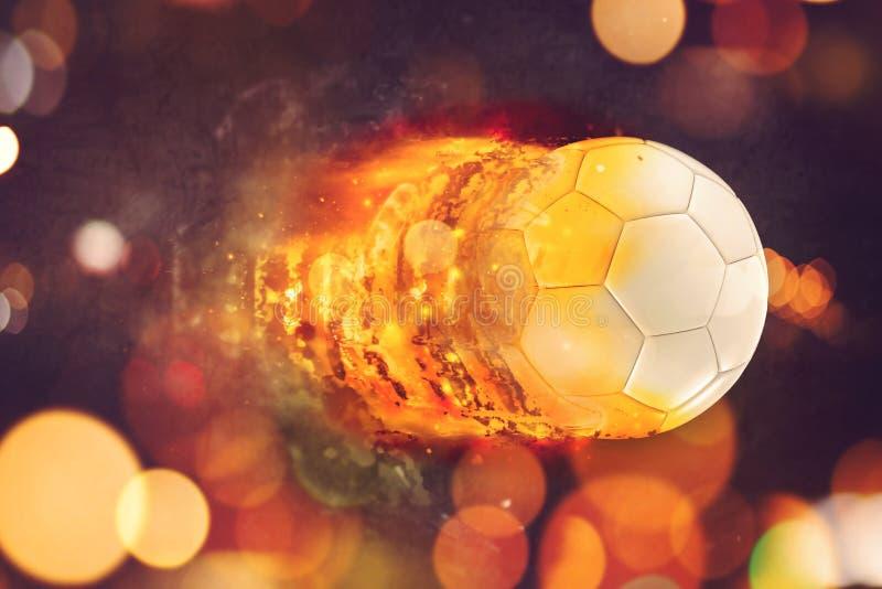 Esfera de futebol nas flamas imagem de stock royalty free