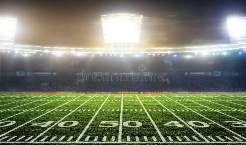 Esfera de futebol no campo do estádio imagem de stock