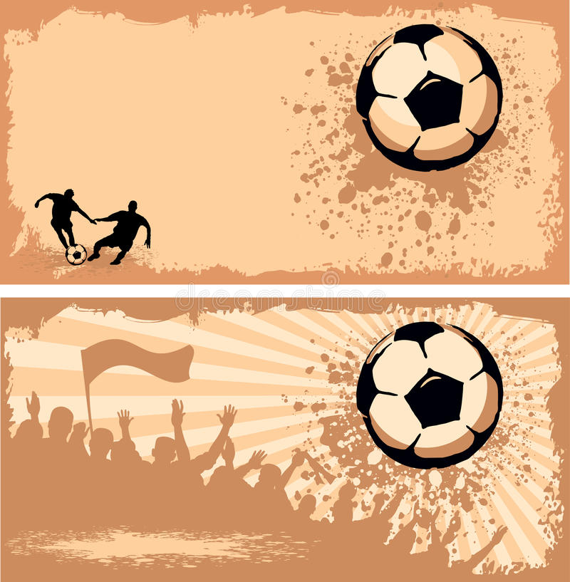 Esfera de futebol no fundo do grunge ilustração do vetor