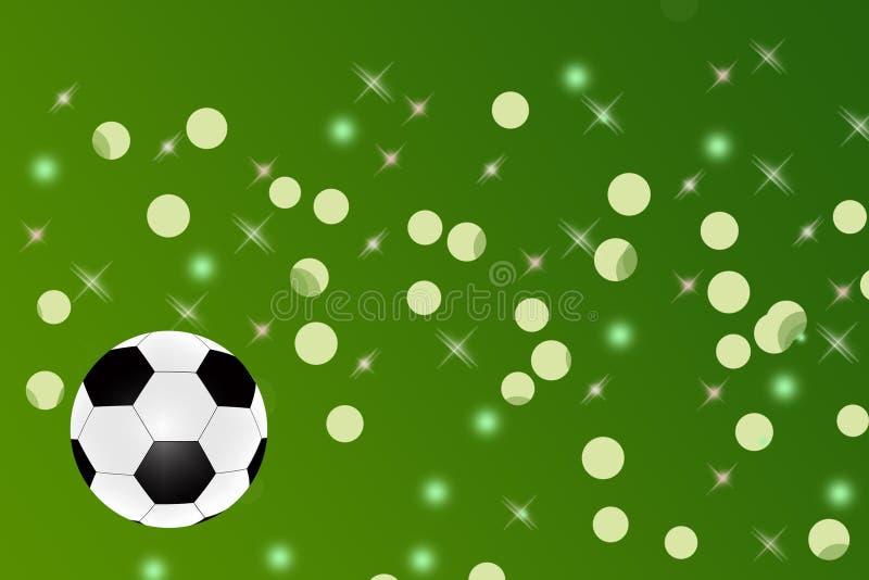 Esfera de futebol no fundo verde abstrato ilustração royalty free