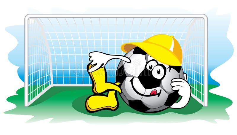 Esfera de futebol no objetivo. Vetor. ilustração do vetor