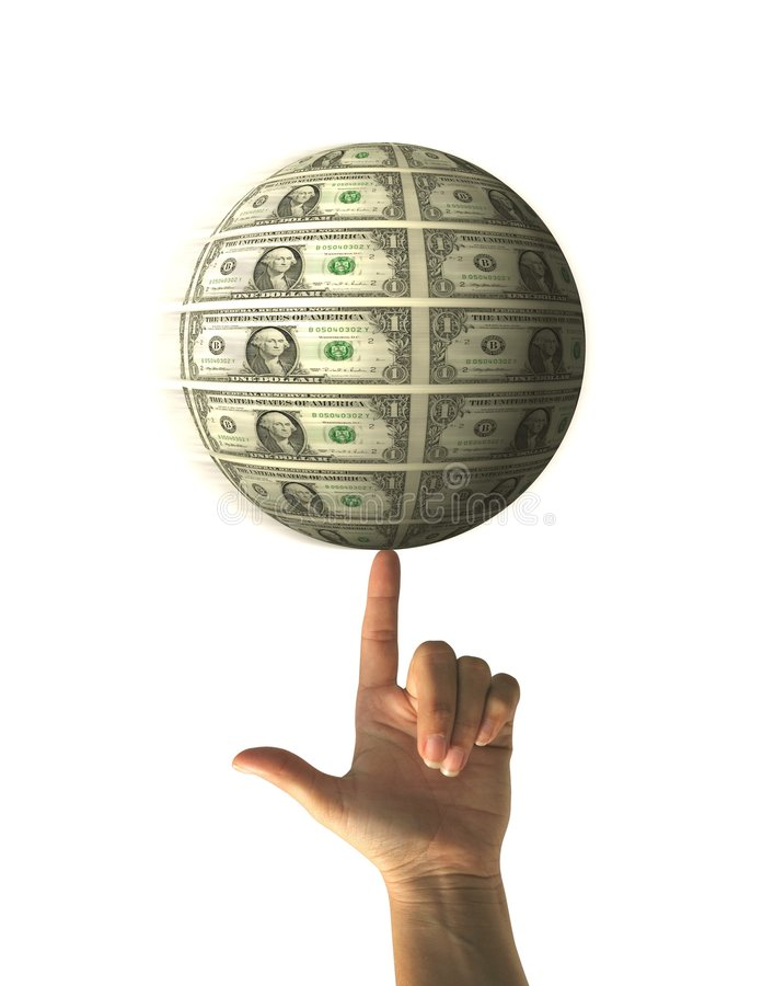 Esfera de giro del dinero imágenes de archivo libres de regalías