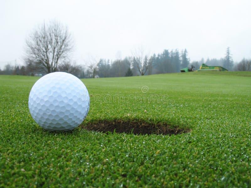 Esfera de golfe ao lado do furo fotos de stock royalty free