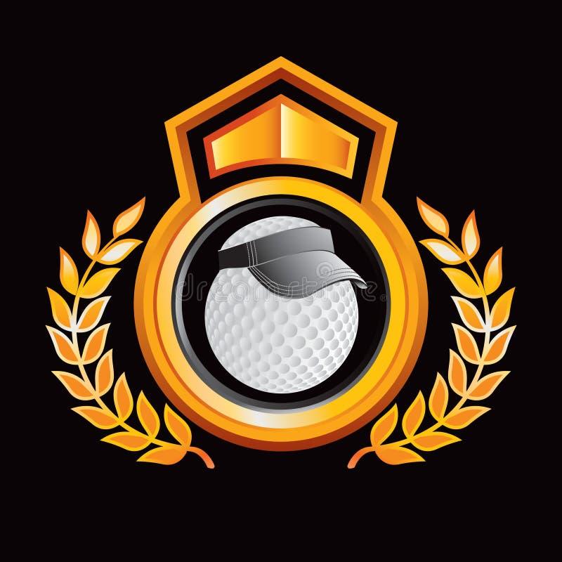 Esfera de golfe com a viseira na crista real do ouro ilustração do vetor