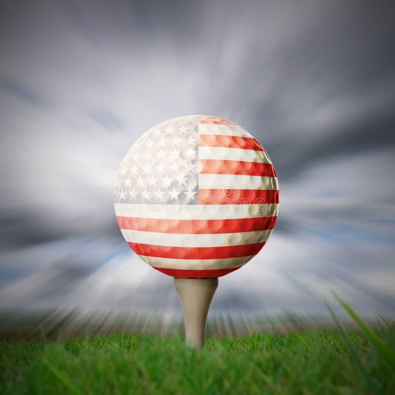 Esfera de golfe da bandeira americana imagens de stock royalty free