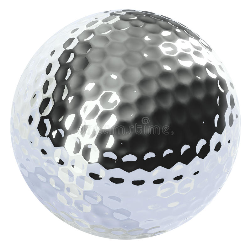 Esfera de golfe do cromo isolada ilustração royalty free